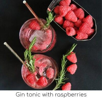 Gin tonic with raspberries