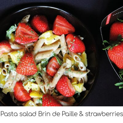 Pasta salad Brin de Paille and strawberries