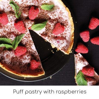 Puff pastry with raspberries