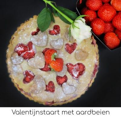 Valentijnstaart met aardbeien